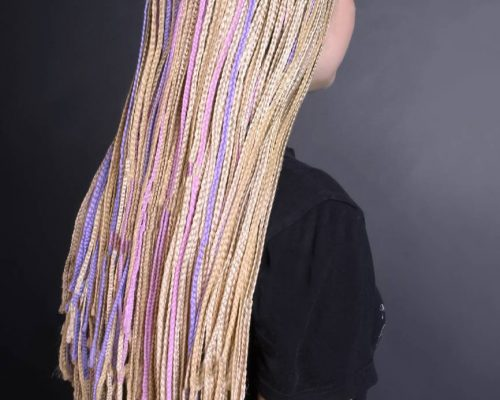 Women Hairstyle with colorful hair afrobraids